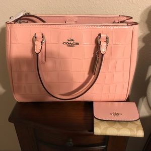 Coach Blush Pink Croc Purse
